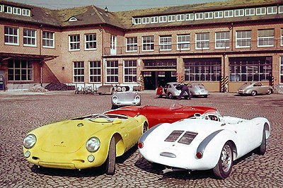 1955 Porsche 550 A at Factory in Stuttgart Zuffenhausen - Photo Poster
