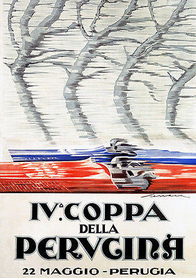 1927 Coppa Della Perugina Auto Race - Italy - Promotional Advertising Poster