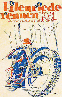 1931 Eilenriede German Motorcycle Championship Race - Promotional Poster
