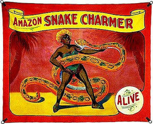 1960's Carnival Sideshow - ALIVE - Amazon Snake Charmer - Magnet
