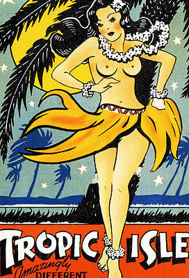 1940's Tropic Isle - Hawaii - Matchbook Advertising Poster