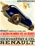 1934 Renault Nervasport 8 Cylinder - Promotional Advertising Poster