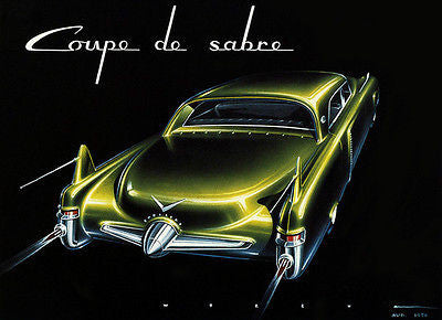 1950 Cadillac Coupe De Sabre Concept Car - Promotional Advertising Poster