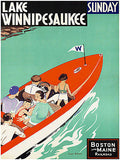 1930's Lake Winnipesaukee - Boston & Maine Railroad - Travel Advertising Poster