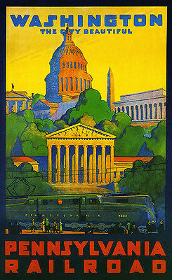 1935 Washington DC - Pennsylvania Railroad - Travel Advertising Poster