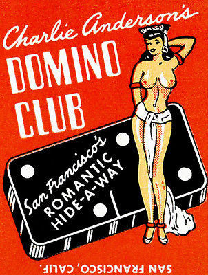 1940's Charlie Anderson's Domino Club - San Francisco - Matchbook Poster