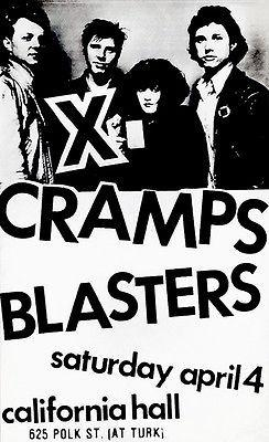 X - Cramps - Blasters - 1982 - California Hall - Concert Poster Magnet