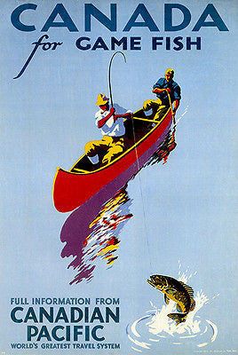1939 Canadian Pacific - Canada For Game Fish - Travel Advertising Poster