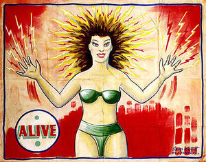 1960's Carnival Sideshow - ALIVE - Electricity Girl - Poster