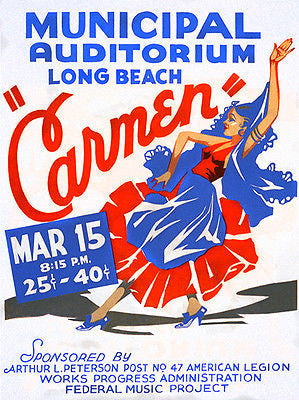 Carmen - 1936 - Long Beach Municipal Auditorium - Show Poster