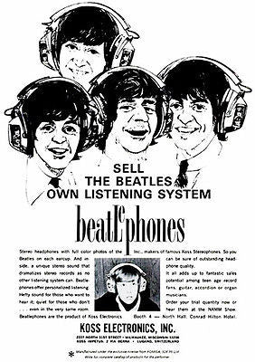 1966 The Beatles - Koss Headphones - Beatlephones - Promotional Advertising Poster
