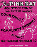 1950's - The Pink Rat - San Francisco - Matchbook Advertising Poster