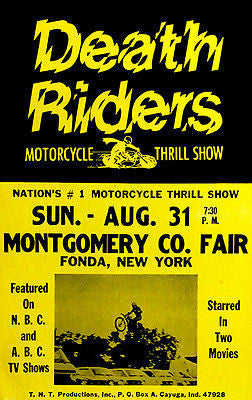 Death Riders Motorcycle Thrill Show - 1975 - Promotional Advertising Poster