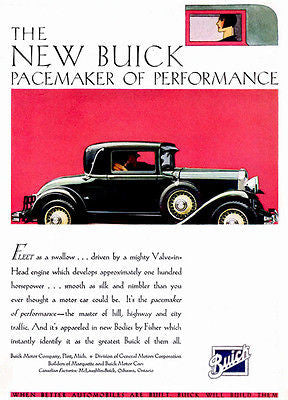 1930 Buick - Pacemaker of Performance - Promotional Advertising Poster