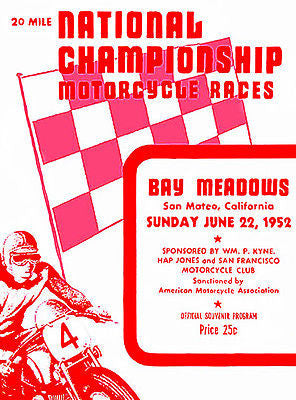 1952 National Championship Motorcycle Races - Promotional Advertising Poster