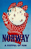 1950's - Norway - A Fist Full Of Fun - Travel Advertising Poster