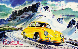 1955 Porsche Continental Coupe - Alpine Rally - Promotional Advertising Poster