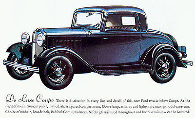 1932 Ford De Luxe (3 Window) Coupe - Promotional Advertising Poster