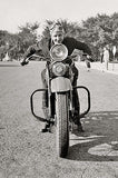 Motorcycle Mama on Vintage Harley Davidson Motorcycle - Poster