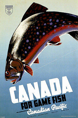 1942 Canadian Pacific - Canada For Game Fish - Travel Advertising Poster