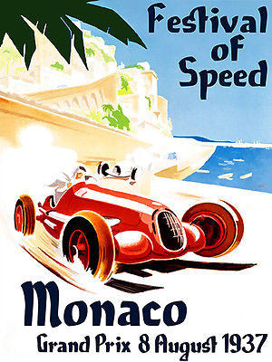 1937 Monaco Grand Prix Race - Promotional Advertising Poster