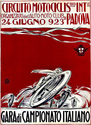 1923 Italian Championship Motorcycle Race - Promotional Advertising Poster