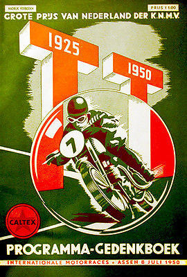 1950 Dutch T. T. Motorcycle Race - Promotional Advertising Poster