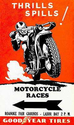 Roanoke Fairgrounds Motorcycle Races - 1930's - Promotional Advertising Magnet