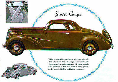 1937 Chevrolet Sport Coupe - Promotional Advertising Poster