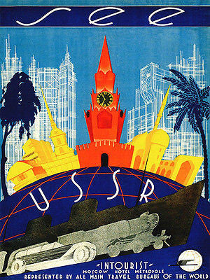 1930's - See USSR - Moscow Hotel Metropole - Travel Advertising Poster