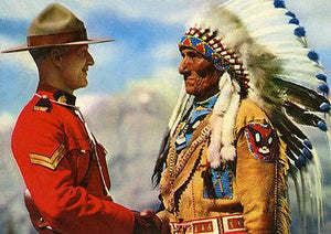 Canadian Mountie Greets Chief Sitting Eagle - Vintage Postcard Mug
