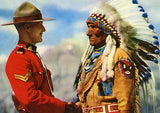 Canadian Mountie Greets Chief Sitting Eagle - Vintage Postcard Poster