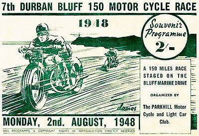 1948 Durban Bluff 150 Motorcycle Race - Promotional Advertising Poster