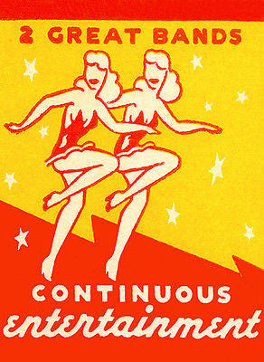 1930's - 2 Great Bands - Continuous Entertainment - Matchbook Advertising Poster
