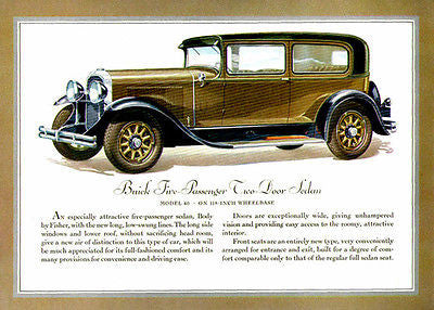 1930 Buick 5 Passenger 2 door Sedan - Promotional Advertising Poster