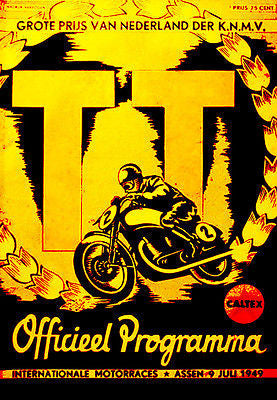 1949 Dutch T. T. Motorcycle Race - Promotional Advertising Poster