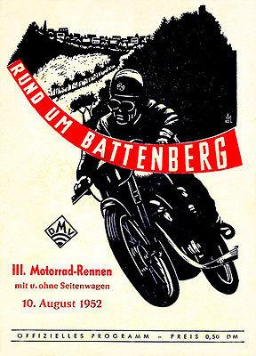 1952 Rund Um Battenberg Motorcycle Race - Promotional Advertising Magnet