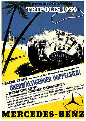1939 Tripoli Grand Prix - Mercedes Benz - Promotional Advertising Poster