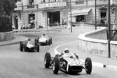 1961 Lotus - Climax 18 F1 & Stirling Moss at Monaco Grand Prix - Photo Poster