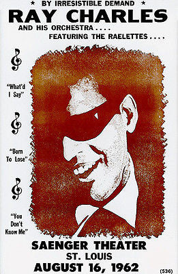 Ray Charles - 1962 - Saenger Theater - St Louis MO - Concert Poster