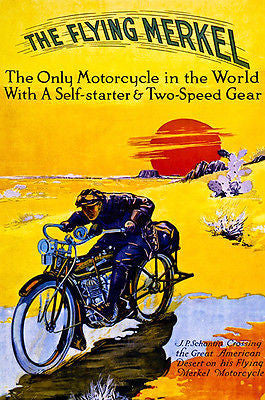 1913 The Flying Merkel Motorcycle - Promotional Advertising Poster