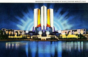 Federal Building at Night - Chicago World's Fair - Vintage Postcard Magnet