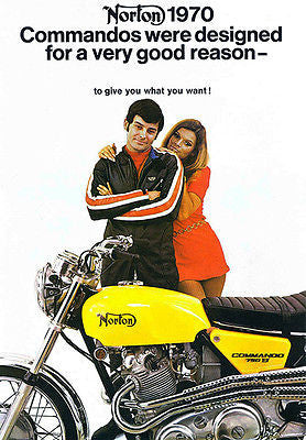 1970 Norton Commando S Model - Promotional Advertising Poster