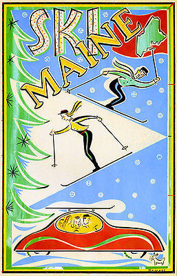 Ski Maine - 1940's - Travel Advertising Poster