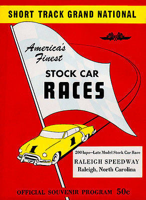 1953 Stock Car Race - Raleigh Speedway NC - Program Cover Poster