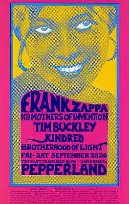 Frank Zappa - Tim Buckley - 1970 - Pepperland - Concert Poster