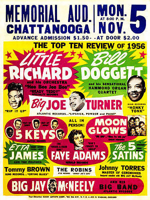 Little Richard - Bill Doggett - Big Joe Turner - Etta James 1956 Concert Poster