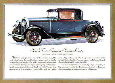 1930 Buick Business Coupe Promotional Advertising Poster