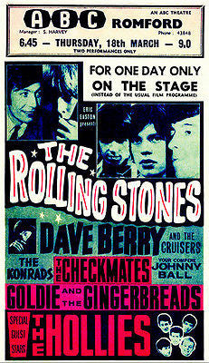 The Rolling Stones - The Hollies - Romford - 1965 - Concert Poster