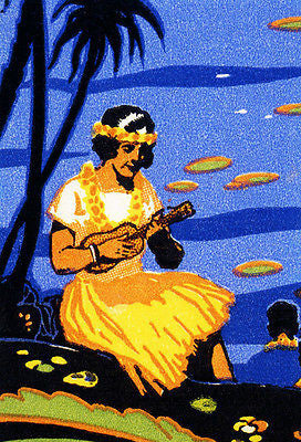 1920's Hawaiian Ukulele Lady - Matchbook Advertising Poster